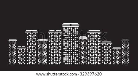 Urban cityscape White illustration on black background - stock photo