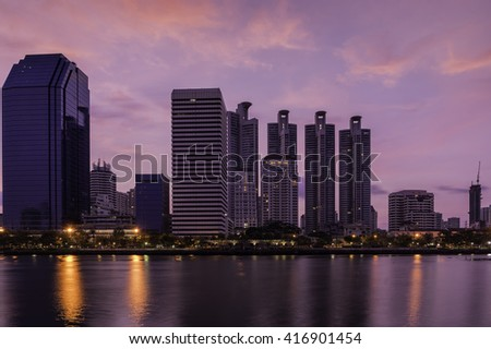 urban closeup building of benjakiti park thailand in evening time on twilight sky - can use to display or montage on product