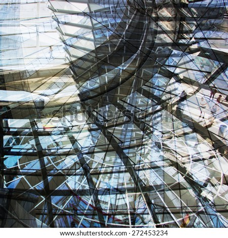 Urban conceptual blue monochrome blurred pattern with construction and glass. Collage, Double Exposure effect - stock photo