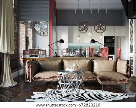 Urban Contemporary Modern Scandinavian Industrial Loft Living room kitchen and dining room Interior Design Penthouse & Urban Contemporary Modern Scandinavian Industrial Loft Stock ...