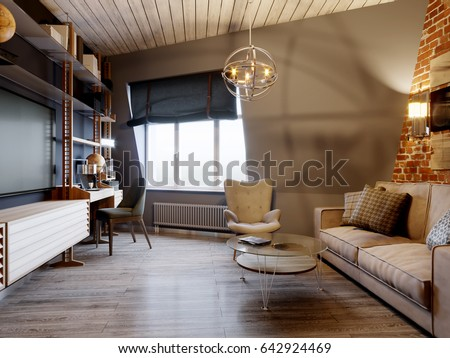 urban contemporary furniture. Urban Contemporary Modern Scandinavian Loft Living Room Interior Design On Attic With Gray And Red Brick Furniture