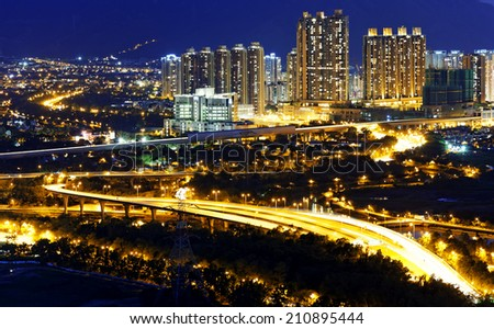 Urban downtown at sunset moment, Hong Kong Yuen Long - stock photo