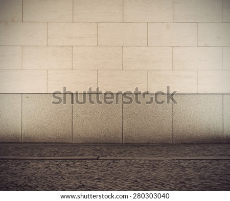 Urban empty street wall background, vintage filtered style - stock photo