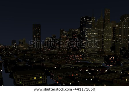 Urban futuristic City in Motion. nice 3D Rendering