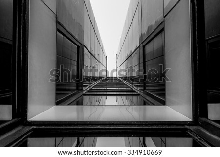 Urban Geometry Looking Glass Building Modern Stock Photo