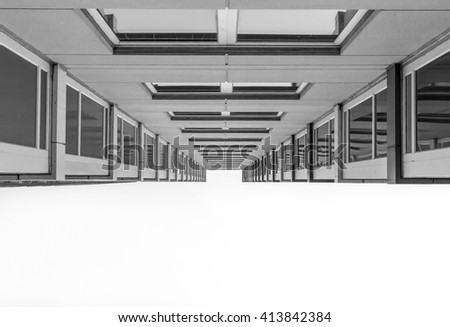 Urban Geometry, looking up to glass building. Modern architecture, glass and steel. Abstract architectural design. Inspirational, artistic image. Industrial design. Modern building. - stock photo