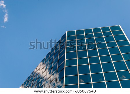 Modern Architecture Glass abstract triangle angled corner building structure stock photo