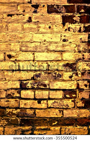 Urban grunge: Detail of whitewashed exterior brick wall, with filtered effects, for texture and background (fifth in a series of eleven) - stock photo