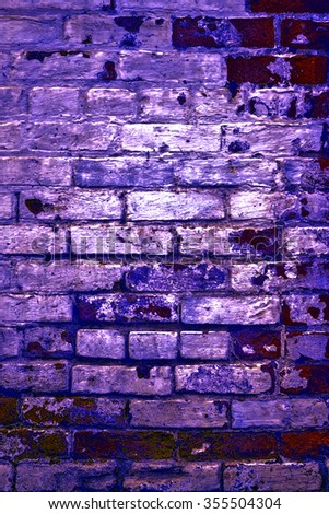 Urban grunge: Detail of whitewashed exterior brick wall, with filtered effects, for texture and background (seventh in a series of eleven)  - stock photo