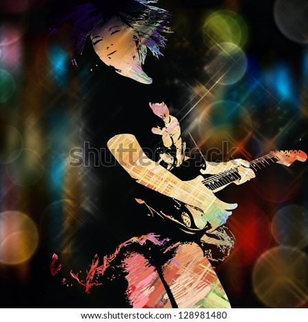 Urban guitarist - stock photo
