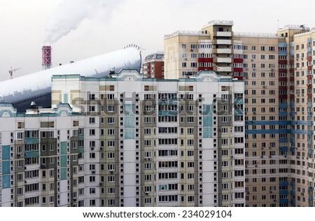 Urban house or building, facade - stock photo
