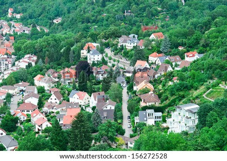 urban landscape and woods view from above - stock photo