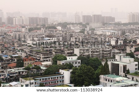 Urban Landscape- Densely populated and Highly polluted inner city Wuhan, Hubei Province, China