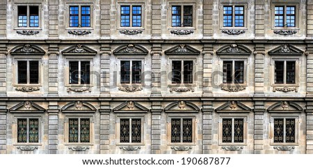 Urban landscape in Zurich Switzerland, windows of building