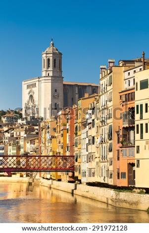 Urban landscape of Girona, the most picturesque destination of Costa Brava. - stock photo
