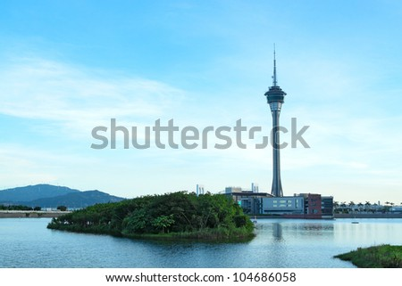 Urban landscape of Macau with famous traveling tower