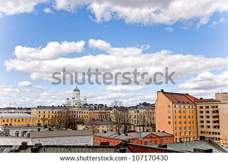 Urban landscape of the city of Helsinki. Finland. - stock photo
