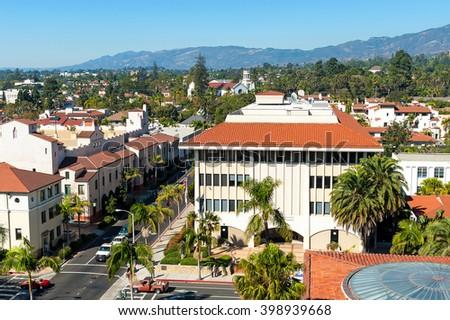 urban landscape of the city of Santa Barbara, California  - stock photo
