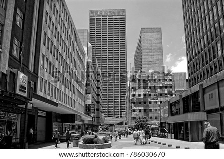 Urban landscape people walk in the city the modern view of johannesburg the