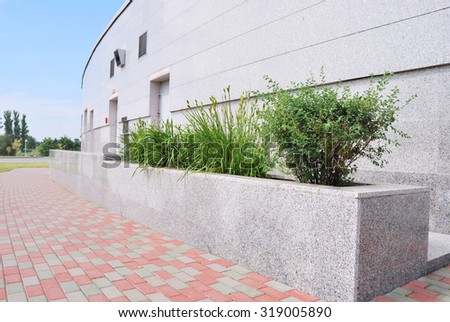 urban landscape with a stone wall and plants