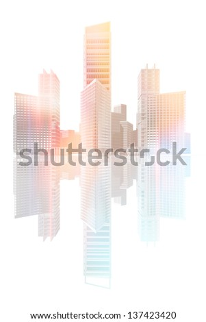 Urban landscape with skyscrapers and office buildings - stock photo