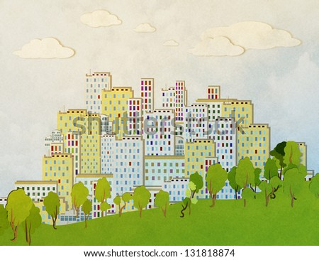 urban landscape with trees, - stock photo