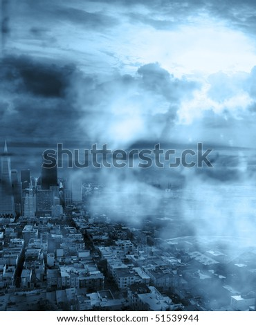 urban landscape with white clouds in front