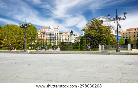 Urban life in the city of Madrid, Spain. Historic architecture in the Iberian Peninsula. Center of the country, Spanish capital, tourist attraction. - stock photo