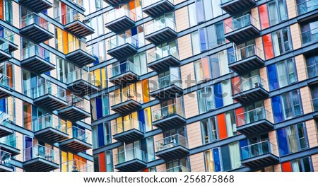 Urban life symbol, densely populated house - stock photo