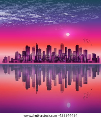 Urban night city skyline in moonlight or sunset, with reflection in water and cloudy sky - stock photo