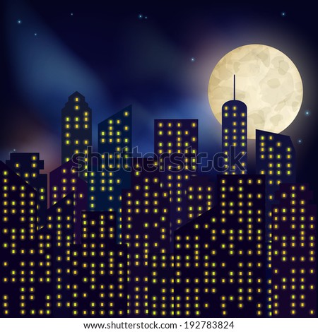 Urban night city with skyscrapers houses and full moon on dark background poster  illustration