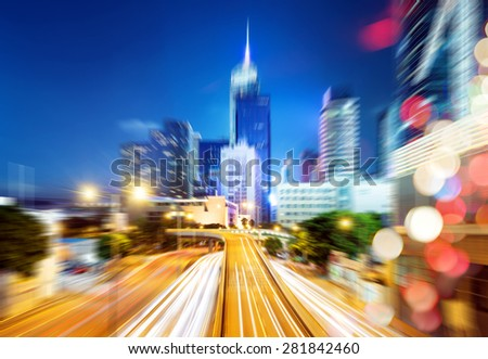 Urban night traffic, motion blur scene. - stock photo