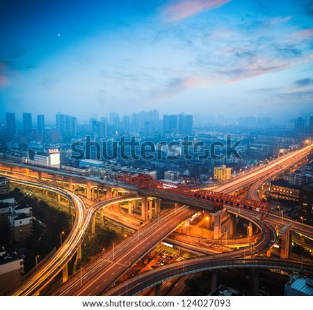 urban overpass at dusk,city traffic background