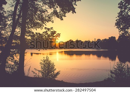 Urban Park at Sunset - stock photo
