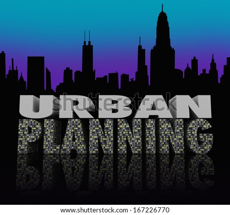 Urban Planning Words City Skyline Building Plan - stock photo