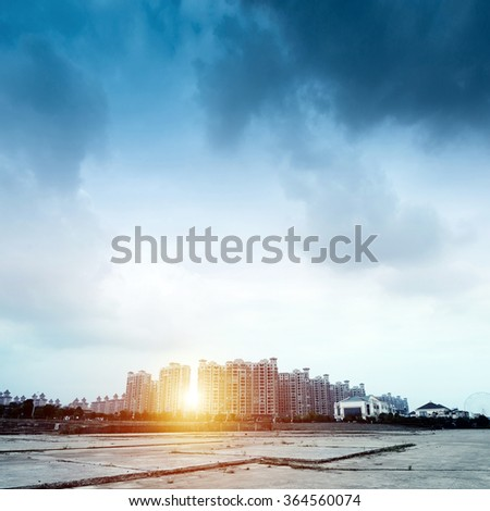 Urban residential areas under clouds - stock photo