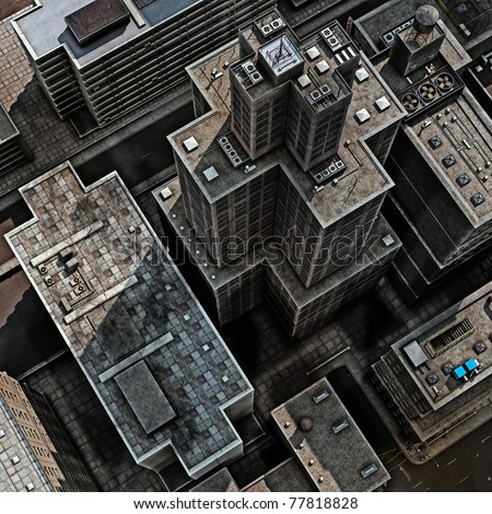 Urban Rooftops, aerial view of a 3d City Render