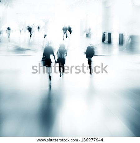 urban scene abstract city business people walking - stock photo