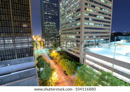 Urban scene along 5th Ave in downtown Birmingham, Alabama. - stock photo