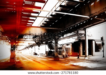 Urban scene at Chicago - stock photo