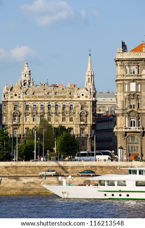 Urban scenery of Budapest city in Hungary, historic tenement house by the Danube river.