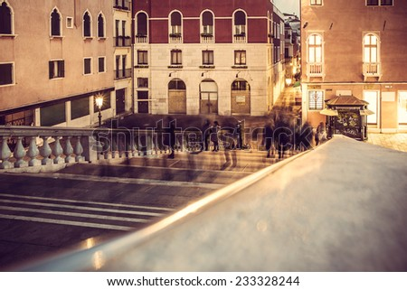 urban scenes: shadow of walking motion, pedestrian in Venice, Italy - stock photo