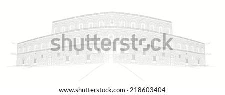 urban sketch of Palazzo Pitti in Florence, Italy  - stock photo