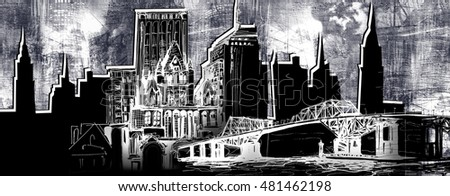Urban skyline illustration with silhouette panorama