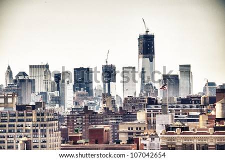 Urban skyscrapers, New York City skyline. Manhattan aerial view - stock photo