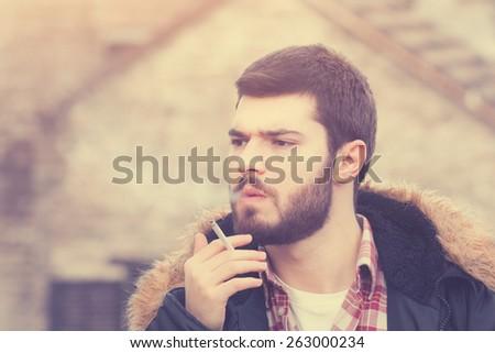 Urban smoker. - stock photo