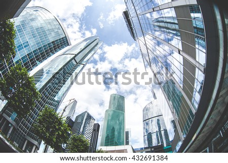 urban street landscape of city skyscrapers, fish eye, down point - stock photo