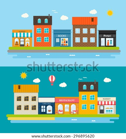 Urban streets with different shops and stores, including books store, bakery, boutique, coffee shop, restaurant, market, illustration - stock photo