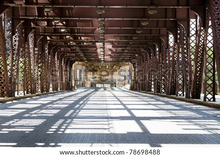 Urban Style - Bridge in city downtown - stock photo