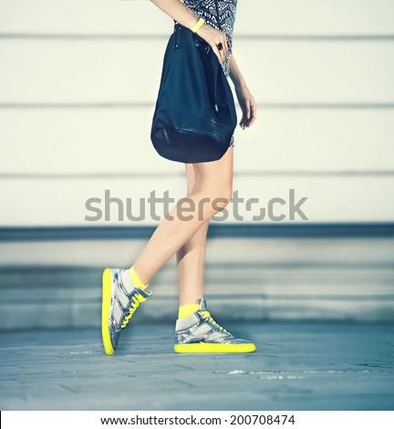 Urban style fashion girl - stock photo